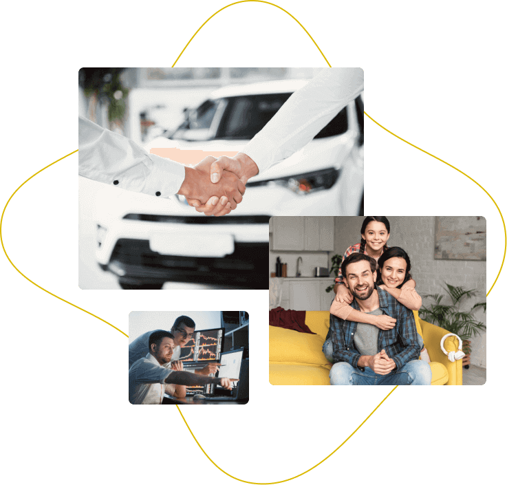 Uścisk dłoni na tle samochodu, rodzina pozująca do zdjęcia, analitycy przed komputerem